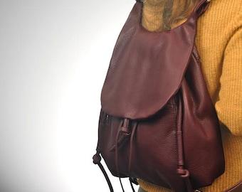 Handmade leather shoulder bag, backpack, messenger, named Daphne in Bordeaux color, MADE TO ORDER