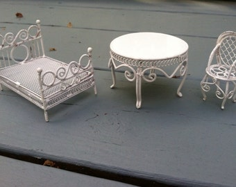 Victoian white metal wicker dollhouse bed chair and table set
