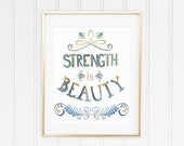 Inspirational Quote Wall Decor Inspiring Quote Art Strength Is Beauty Print Inspirational Quote Print Typography Motivational Quote