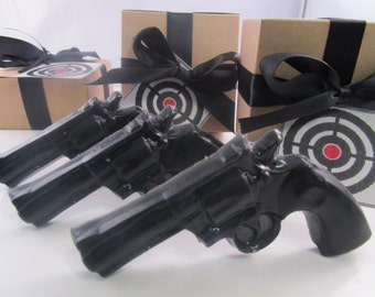 3 Police Gun Soap - christmas gift for man, christmas for guys, gift for men, black soap gun, stocking stuffer