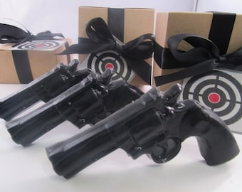 3 Police Gun Soap - valentines gift for man, valentines for guys, gift for men, black soap gun