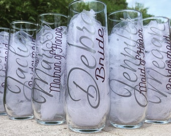 Stemless champagne glasses, Personalized  Bridesmaid champagne , stemless bridesmaid glasses, stemless champagne flutes