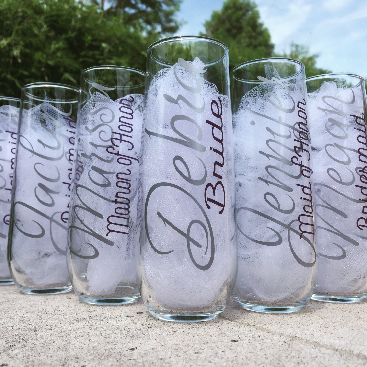 stemless champagne glasses personalized bridesmaid champagne. Black Bedroom Furniture Sets. Home Design Ideas