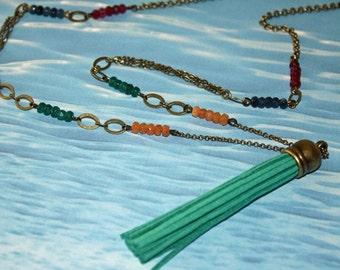 SAPPHIRE BOHO TASSEL Necklace