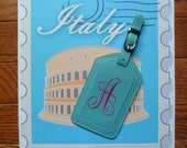 Leather Luggage Tag/Key chain Monogrammed Gift Bridesmaids Personalized Christmas thirteen colors