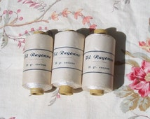 Set of 3 Vintage french spools of yarn in paper wrap sewing thread embroidery silks