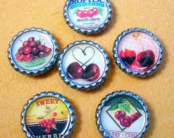 Cherries - Bottle Cap Magnets Set of 6