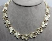 Vintage CORO White Enameled Leaf Choker Neckalce