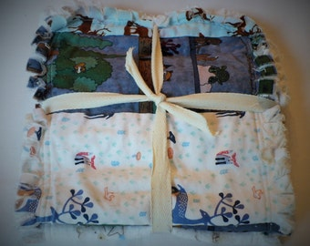 Baby Boy Burp Cloth Set of 3 - Modern Woodland Deer and Forest Animals in Ivory Navy Brown Chenille Rag Quilted