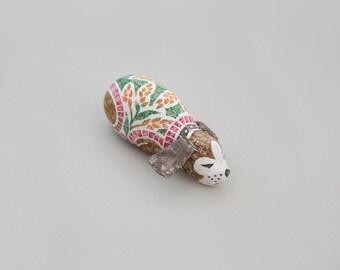 Woodblock Print Stuffed Toy, Dog (sleeping)