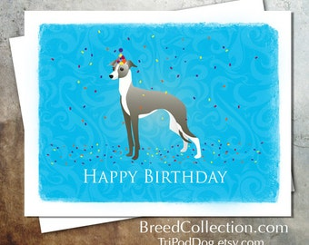 Italian Greyhound or Whippet Dog Birthday Card from the Breed Collection - Digital Download Printable