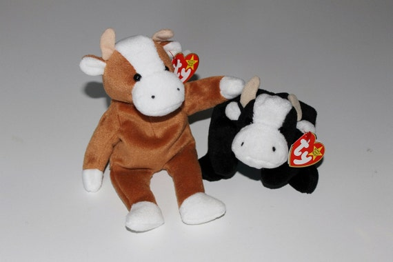 Ty Beanie Babies Daisy And Bessie Brown And Black Cows 1994