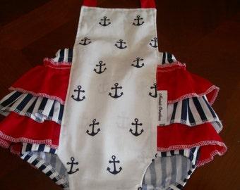 Baby Romper, Baby Sunsuit, Bubble Romper, Ruffle Bottom, Girl Clothing, Nautical Romper, Red Ruffles, Birthday Clothing, Summer, Gift