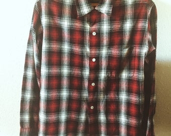 Vintage, 1950s, Ensenada, Flannel, Work Shirt, Mens Medium, Unisex, Hipster, Fashion, Shirt