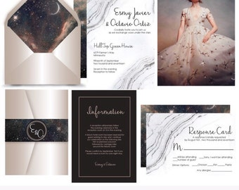 Alumbra . Starry sky Marble wedding invitation suite Deposit. Invitation Sample. Printing services available