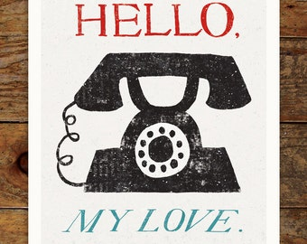 Vintage Phone, Hello, My Love, 11x14 Art Print