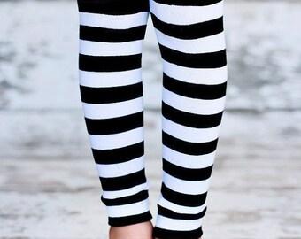 ON SALE Leg Warmers - Black & White Stripes