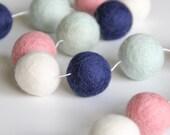 Felt Ball Garland- Navy, Pink, Mint, White 30mm