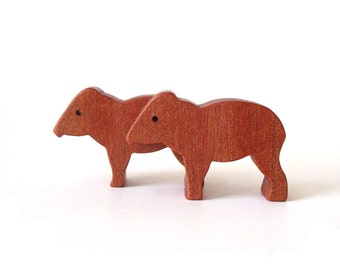 Peccary Wild Pig Wood Animal Toys Waldorf  Wooden Miniature Noah's Ark Zoo Children's Toy Myrtle