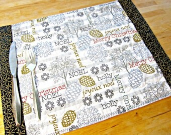 Christmas Placemats, Quilted Placemats, Gold and Silver Placemats, Snowflake Placemats, Snowflake Decor, Modern Christmas, Music Placemats