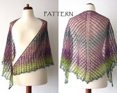 knitted lace shawl pattern, triangle wrap pattern, beach scarf pattern, pdf instant download, DIY, knitting tutorial