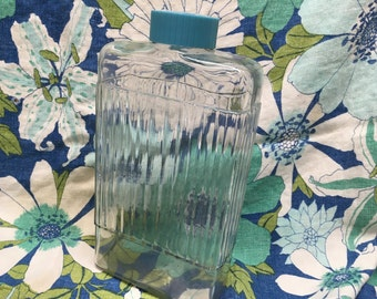 Vintage Glass Bottle Turquoise Cap Heavy Refrigerator Water 1950 Anchor