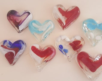 Glass hearts, Finnish blue hearts, glassWedding Favors, Brides gifts,  Gift Hearts, Small hearts, Handmade glass Hearts, Valentine Hearts