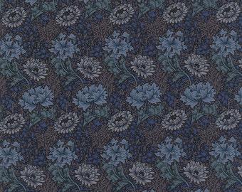 Morris Earthly Paradise - Chrysanthemum in Indigo by Barbara Brackman for Moda Fabrics