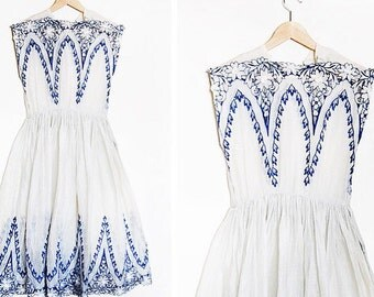 1940's embroidered cotton voile dress / Cutwork sheer floral dress