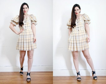 Vintage Checked Gingham Off The Sholder Cold Shoulder Puff Sleeve Cotton Mini Dress