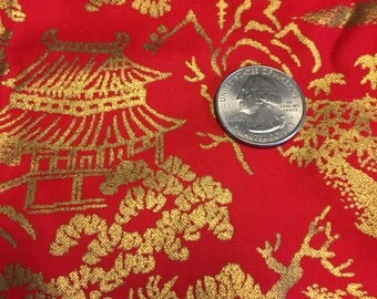 Vintage Red and Gold Asian Print Fabric 1 1/2 Yards 1960s