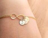 Gold Infinity Bracelet, Personalized Infinity Bracelet, Initial Bracelet, Initial Infinity Bracelet, Bridesmaids Bracelet, Mother's Bracelet
