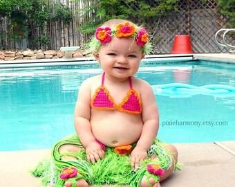 Baby Girl or Toddler Hawaiian HULA Photo Prop- Grass Skirt - Bikini Bra - Flower Headband and Bare Foot Sandals- Made to Order PLAN Ahead