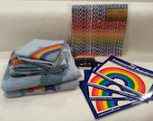 Vintage rainbow lot - gay pride towels, wrapping paper, luggage strap, window decals, etc. LGBT wedding gift!