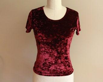 90's Crushed Red Velvet Burgundy Short Sleeve Shirt - Size Medium - Grunge - Goth