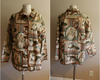 Crazy Cat Lady Jacket - Size Large - Blair - Unique - Animal Lover - Rare Vintage
