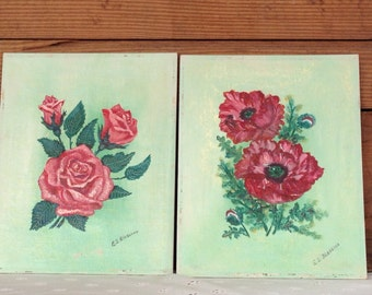 Signed Pair of Oil on Canvas Shabby Chic Rose Paintings From The 1950's