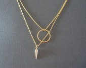 Gold Circle & Spike Double Chain Necklace