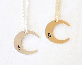 Initial Crescent Moon Necklace in Sterling Silver, 14K Gold Filled // Simple everyday personalized long layering necklace
