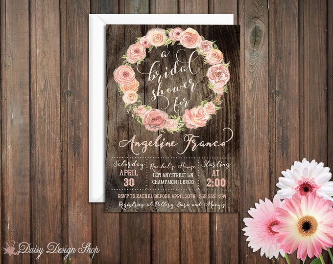 Featured listing image: Bridal Shower Invitation - Wreath of Roses and Wood Plank Background