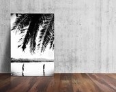Unique PALM TREE Photo, Palm Tree Frond Photo, Black and White Palm, Abstract Palm Frond, Paddle Boards on Lake Photo Minimalism Photography