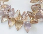 1/2 strand  (16 beads)  Ametrine 3D carved, clear  leaf briolette beads,   (graduating from 15-11 lenght  to 10-8mm width) carved leaf,