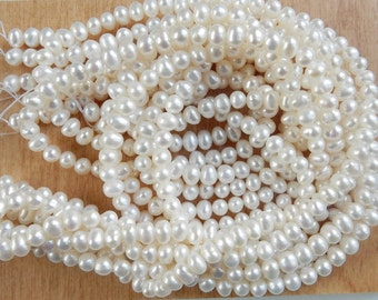 4-5mm Creamy White,   freshwater potato pearls, FULL STRAND 4-5x5-6mm