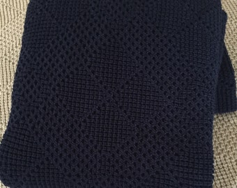 "Knitted Throw, Afghan, Blanket "" Dark Navy """