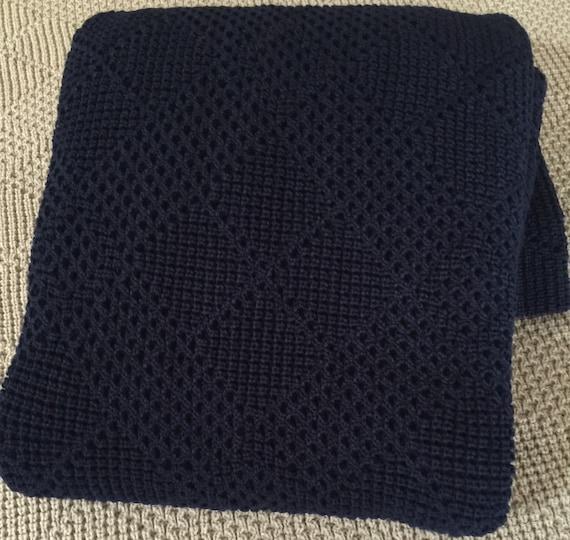 """Knitted Throw, Afghan, Blanket """" Dark Navy """""""