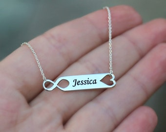 Infinity Name Necklace, Heart Necklace, Custom Name Necklace, Wedding Gift, Sterling Silver, Gift For Wife, Mothers Day Gift, Engraved Name