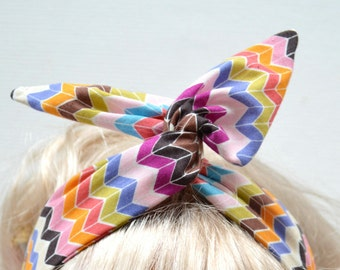 Daisy Dolly Bow Fabric Wired Headband - Organic Cotton - Zig Zag Multicolour