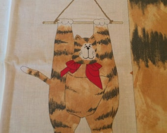 Vintage cut stuff and sew hanging cat wall decoration