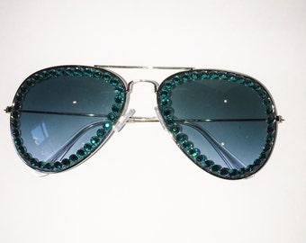 TEAL Swarovski on Teal Non Prescription Glasses
