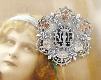 Antique French silver plate and rose gold brooch Notre Dame de Lourdes
